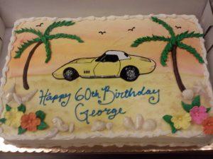 Yellow Corvette on Beach - 411M
