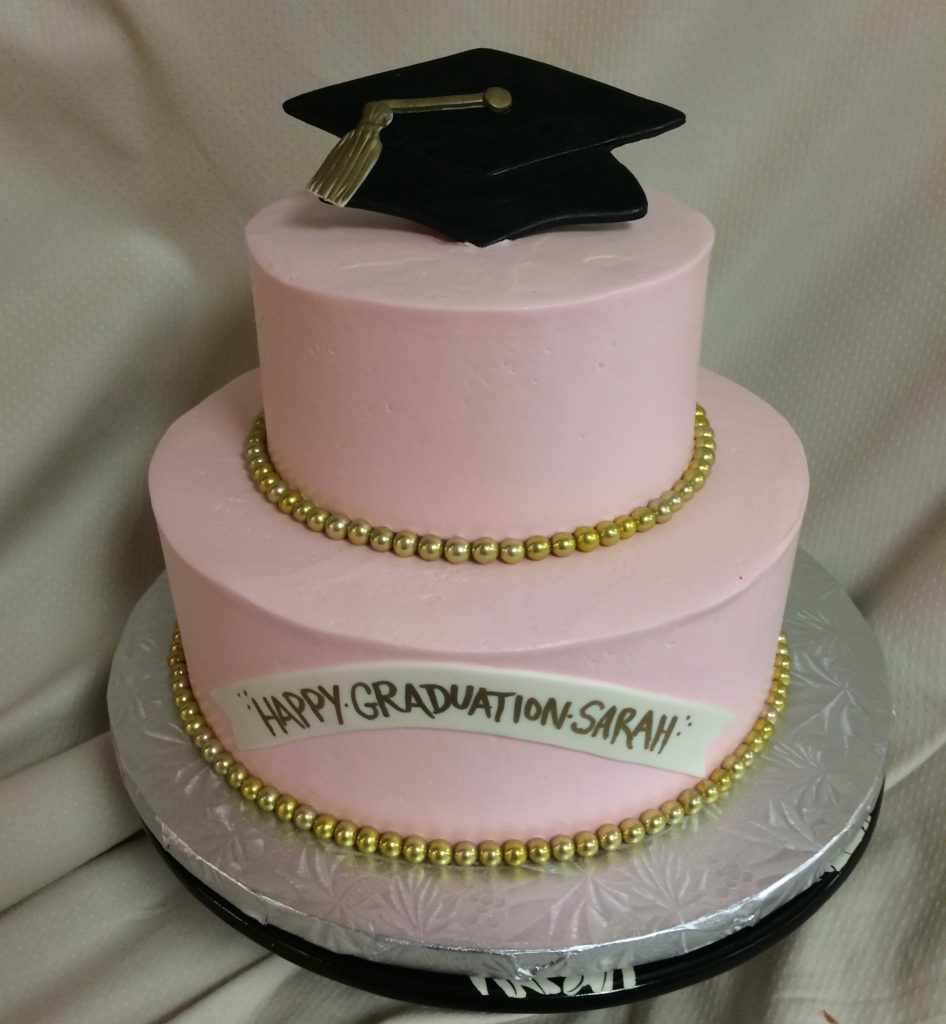 Graduation Cake pink and gold
