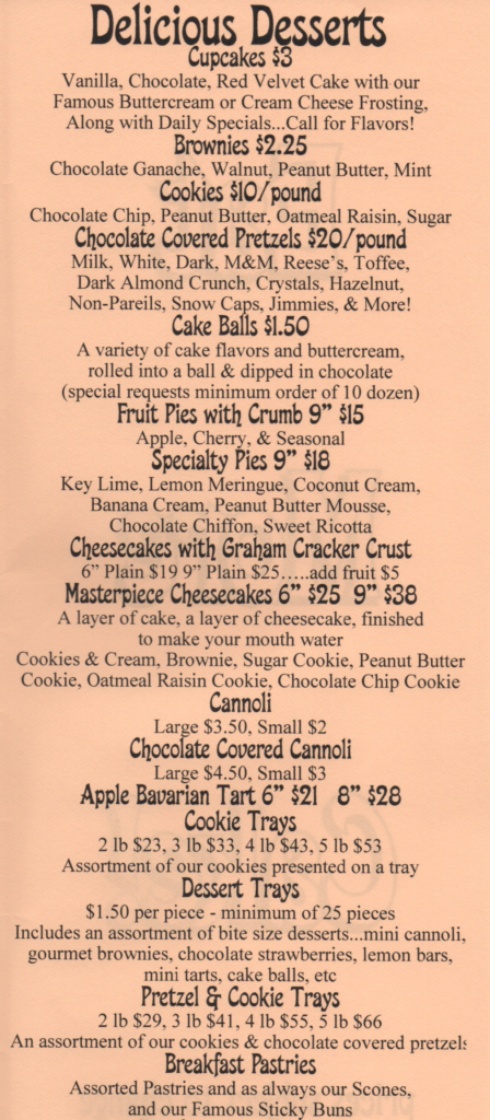 Dessert Menu for the Bake Works