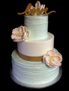 buttercream gold and blush sugar flowers love topper
